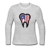 Dentista Camisetas de Algodón Mujeres de Manga Larga de La Bandera Americana patriótica diente Tee camiseta Cuello O Informal EE. UU. Orgullosa Mujer Tops Tee