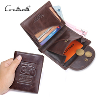 Fashion New Men Wallet Short Wallets Genuine Leather Brown Bifold Classical Mens Clutch Card Holder Money