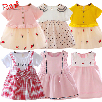 R&Z Baby Dress 2019 New Summer And FallFashion Four Leave Grass Lace Children Girls Short-sleeved Cotton Dresses k1