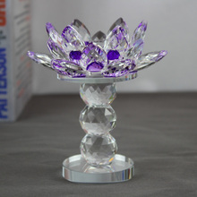 Crystal Glass Lotus Flower Candle Holder Home Decorative Big Tealight Candle Holders Lanterns Candlestick Craft