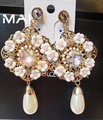 Fashion New Arrival Brand Baroque Mississippi Style Crystal Drop Pearl Rose Flowers Fashion Earrings