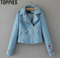 2019 Fashion Female Leather Jacket Blue Color PU Coat Floral Embroidery Women Faux Leather Jacket jaqueta de couro JT028