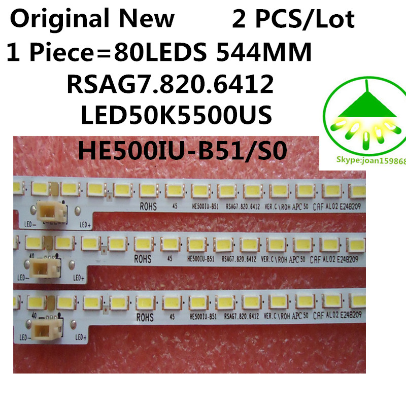 2pcs lot Original New RSAG7 820 6412 80LEDS 544MM For Hisense LED50K5500US HE500IU B51 S0 Led