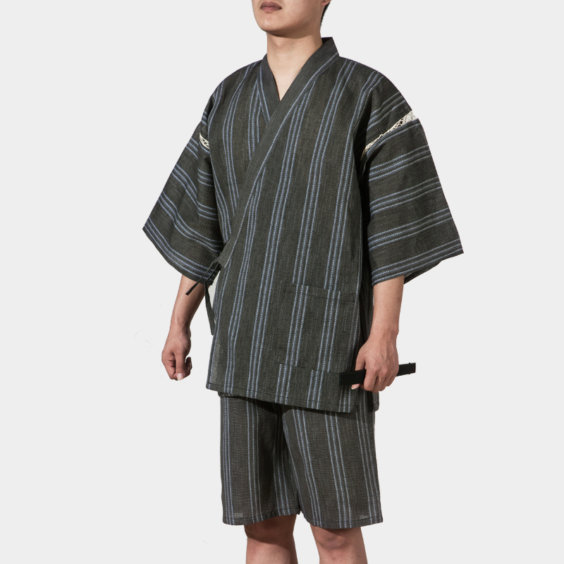 2019 Cotton Yukata Japanese Kimono Traditional Men's Clothing Japan Pajamas Men's Sleepwear Lounge Home Clothing Suits 062512