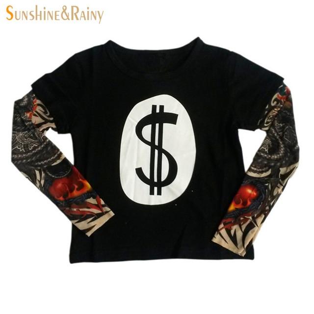New Arrival Autumn Baby Boys T-shirt Cotton Casual Shirt Boys Splicing Hip-hop Kids Tops Tattoo Sleeves Children Boys Clothes