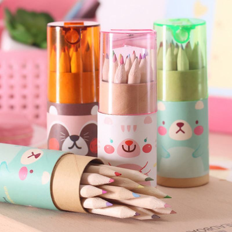 12pcs/set Bear Color Pencil Stationery Novelty Cute Drawing Set Student Drawing Art Supplies For Kids Stationery Color Pencil