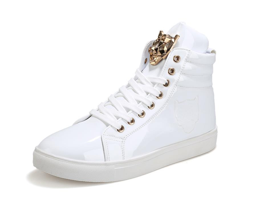 ff61c25aa68e6 New Fashion High Top Casual Shoes For Men PU Leather Lace Up Red White  Black Color Mens Casual Shoes Men High Top Shoes Retail