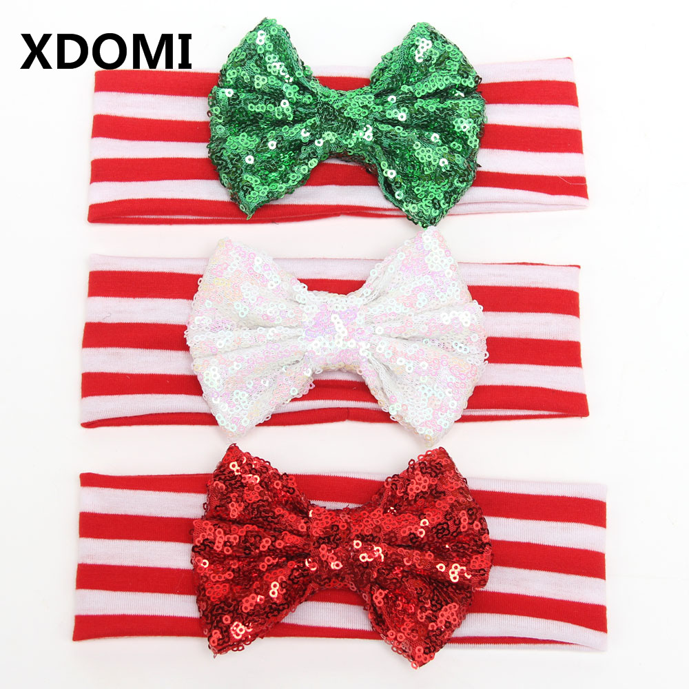 5pcs/lot New Design Children Christmas Headband Girls And Kinds Big Messy Sequin Bow Striped Hairband Christmas Hair Accessories