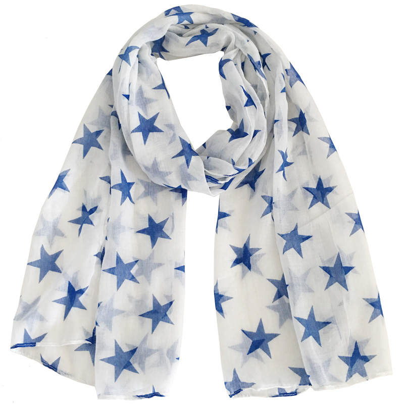 Lightweight Fashion Soft Women Scarf Blue Or Orange Stars With White Background Print Polyester Small Scarfs 180*55 Cm