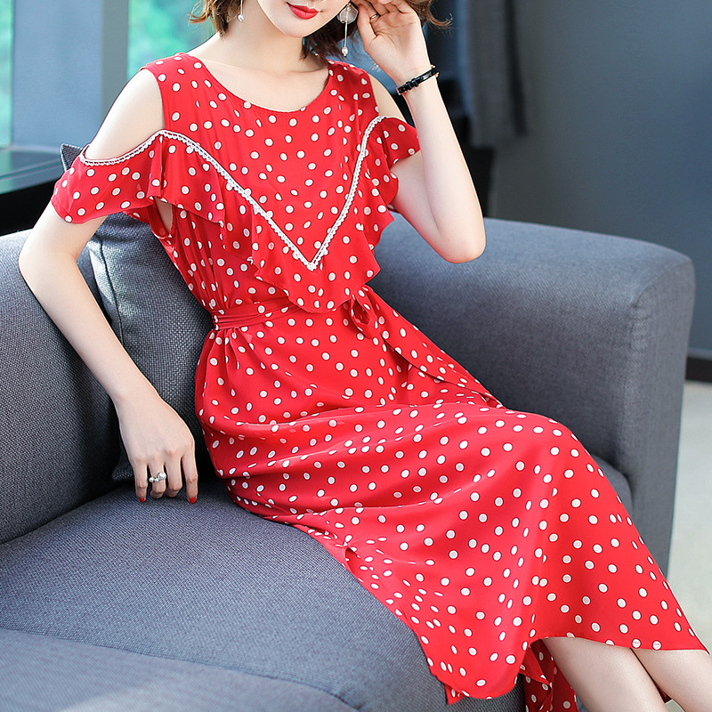 Vestidos Europe Dresses 2018 Ukraine Summer New Strapless Polka Dot Printing Lacing Belt Bow Silk Maxi Dress Plus Size