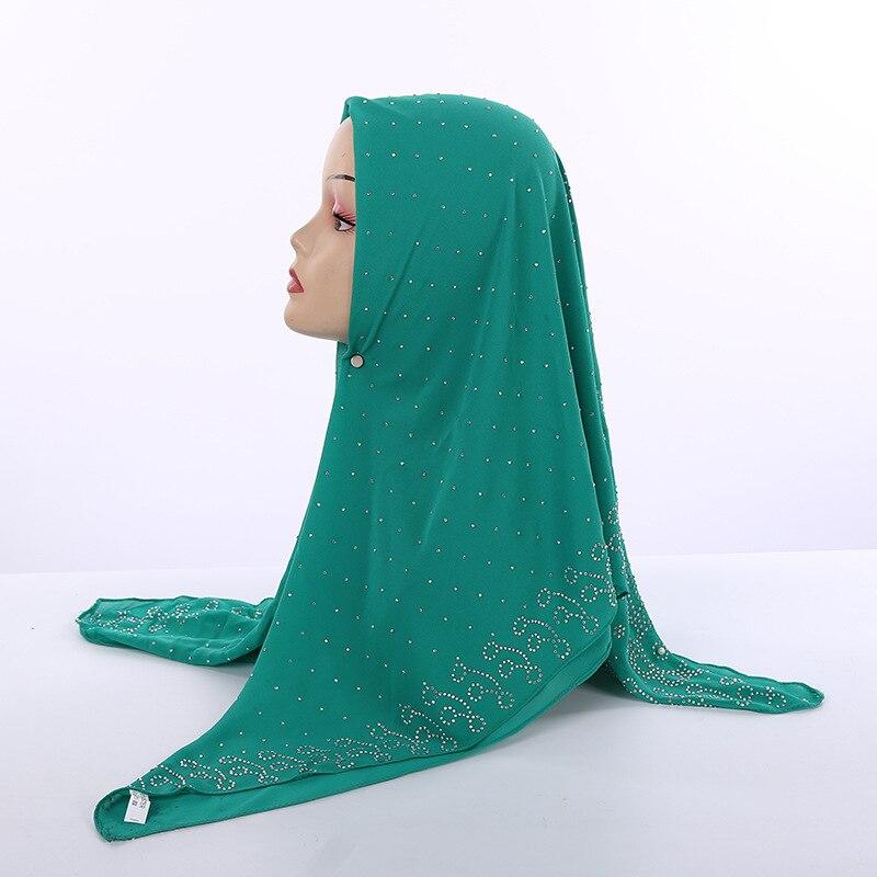 105*105cm Bubble Chiffon Square Islamic Scarves Women's Plain Colours Muslim Headscarf With Rhinestone Pearl Decor Arab Shawl