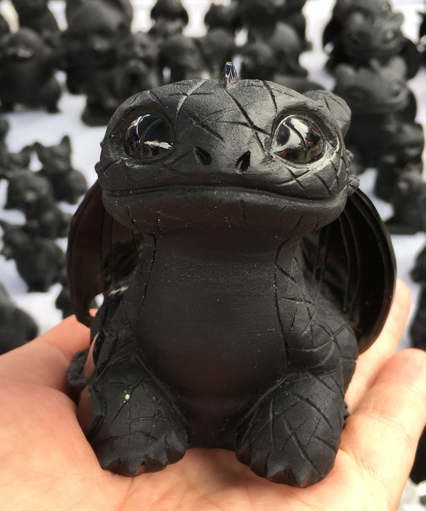 1pcs Natural hand Exquisitely carved Light Fury Toothless Black Obsidian dragon for sale
