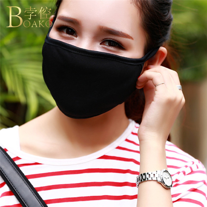 Unisex Dustproof Mouth Face Mask Black Cotton Health Anti-Dust Mouth-Muffle Washable Reusable Masks Women Fashion Accessory Z2