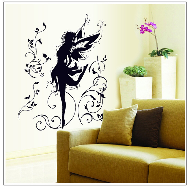 Dancing Elf Wall Sticker Fairy Vine Art Mural Decal Stickers Dance Music Classroom Background DIY Home