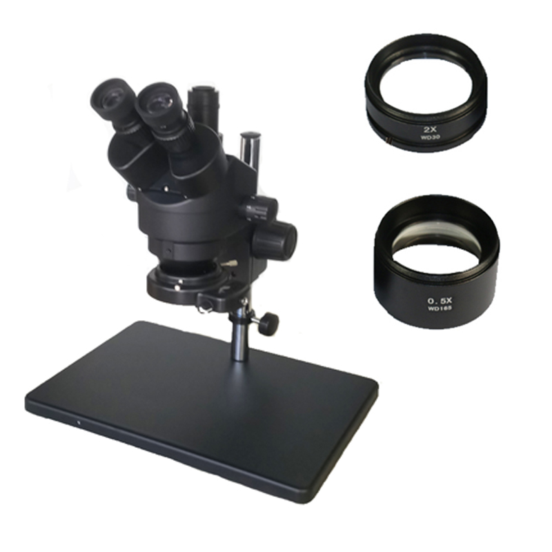 Russia Free shipping 7 45X 3 5X 90X Trinocular Stereo Zoom Big table stand Microscope with