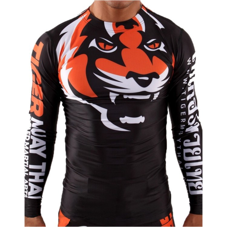 2015 New Listing Wear Long-sleeved Clothing Tight Stretch Fitness Muay Thai Black Orange Sweatshirt Free Shipping Muaythai