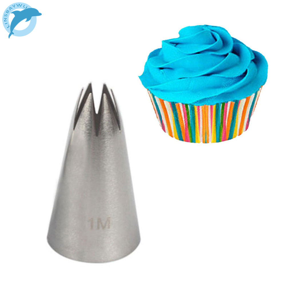 LINSBAYWU 1pc #1M Stainless Steel Piping Icing Nozzle for Cream Cake Decorating Tip Pastry Cake Tools