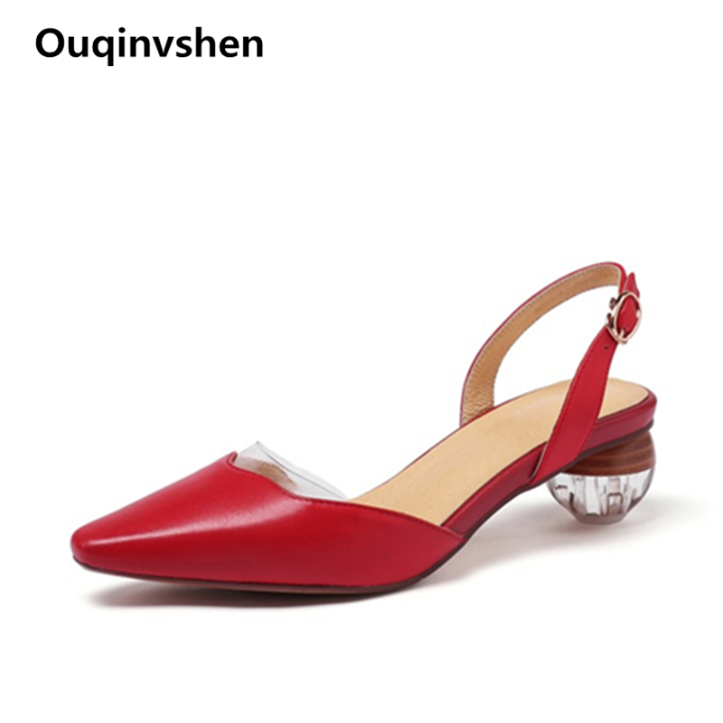 Ouqinvshen Cow Leather Transparent Sandals White Fashion Elegant Square Toe Buckle Summer Sandals Strange Style High Heels Women
