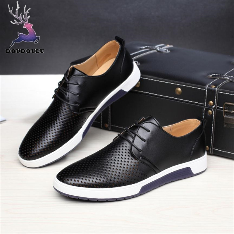 Summer Business Men/'s Breathable Hollow Out Slip On Shoes Casual Leather Shoes