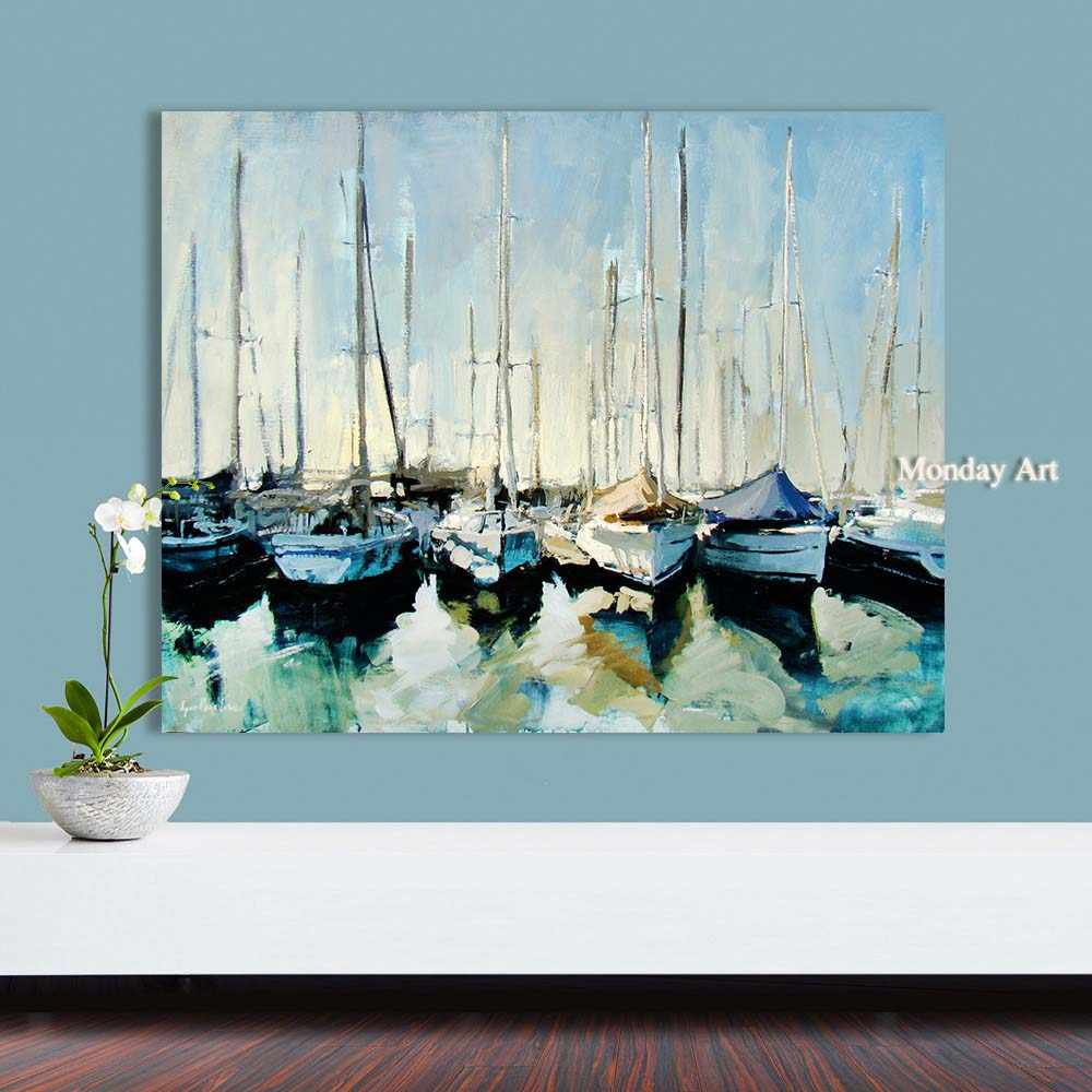 Wholesale High Quality handpainted Abstract boats Oil Painting On Canvas Handmade Beautiful Abstract Landscape Oil Paintings