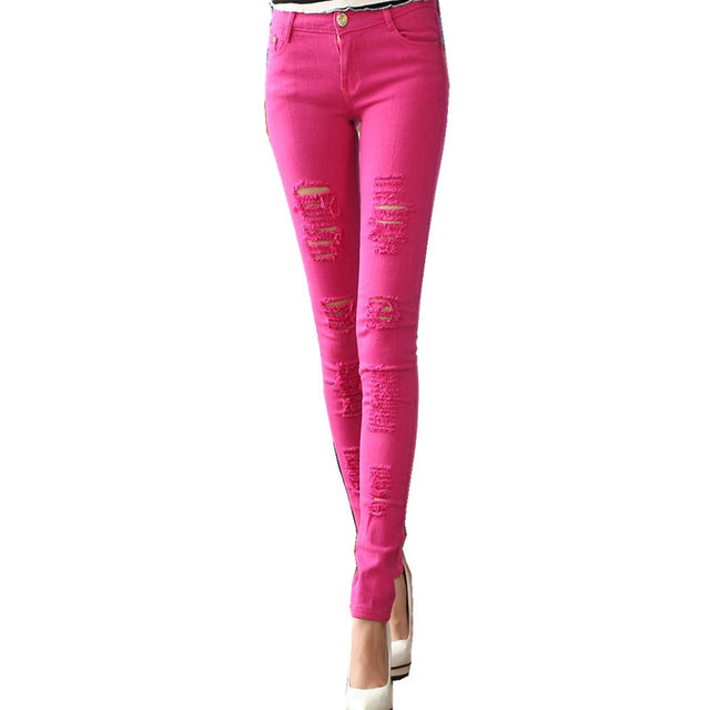 Ripped Candy Pants Pencil Trousers