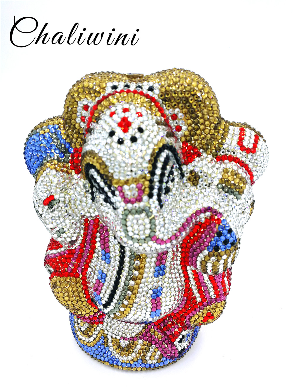 Chaliwini Mluti Crystal Thai Buddhist Elephant Women Evening Clutch Bag Wedding Party Minaudiere Handbag Metal Cluth bag