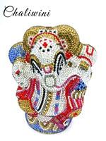 Chaliwini Mluti Crystal Thai Buddhist Elephant Women Evening Clutch Bag Wedding Party Minaudiere Handbag Metal Cluth bag