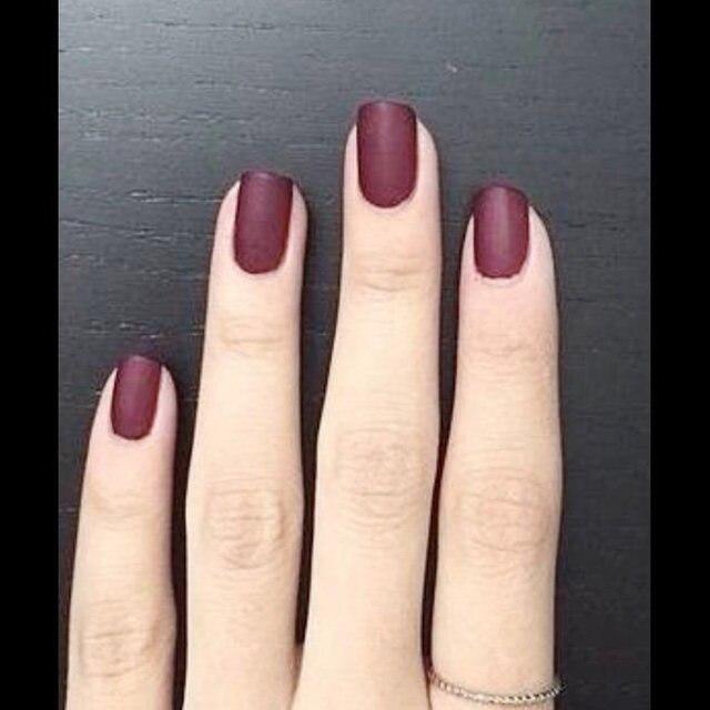 24pcs Sexy Matte Material Vampire Fuchsia Color False Nails Fake Tip Finished Artificial Fingernails Nail