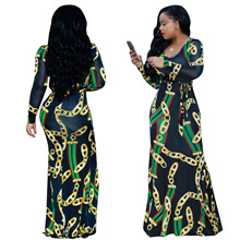 Plus size African Womens Floor-Length Dress Office Lady Party Elegant Sexy Slim Hot Unique Print Design Striped Ela