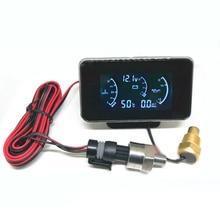 Универсальный ЖК-дисплей 3 Функция 12 v/24 v для грузовиков Автомобильный манометр давления масла+ Напряжение датчик+ Температура воды измерителем влажности и температуры с датчиками