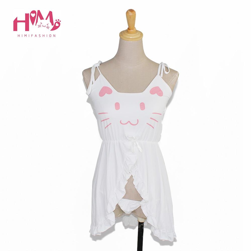 Naisten seksikäs alusvaatteet kissa tulostus alusvaatteet pehmeä modal söpö alusvaatteita mekko ja housut musta valkoinen hihnat naisten pyjamat