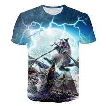 3D Galaxy Space Funny Kitty Cat Thundercat Playing With Lightning T shirts Men Casual Hipster Harajuku Tops Tees Cool Design