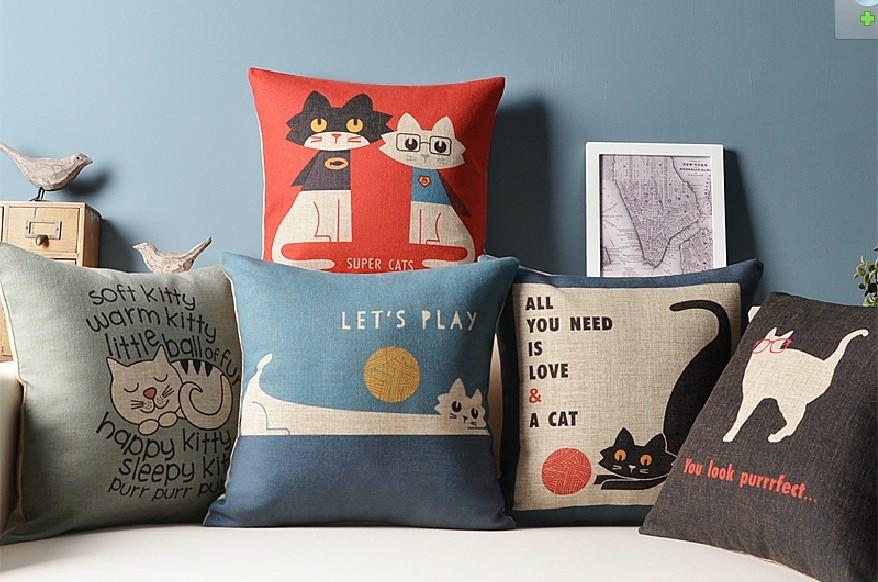 Decorare Cuscini.Cat Amico Creativo Simpatico Cartone Animato Cuscino Lino Pillow