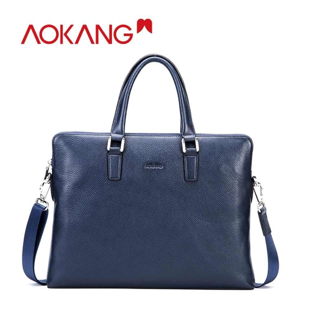 Sacos maleta de negócios dos homens azuis Pretas Dos Homens Aokang bolsas sacoche Homme Masculinos dos homens de Couro genuíno Frete Grátis