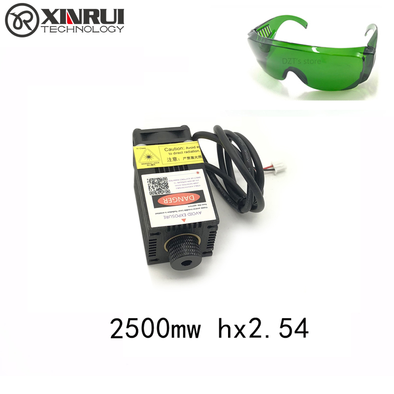 2.5w High Power 450NM Focusing Blue Laser Module Laser Engraving And Cutting Hx 2p Port Module 2500mw Laser Tube+googles