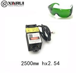 2.5w high power 450NM focusing blue laser module laser engraving and cutting hx 2p port module 2500mw laser tube+googles