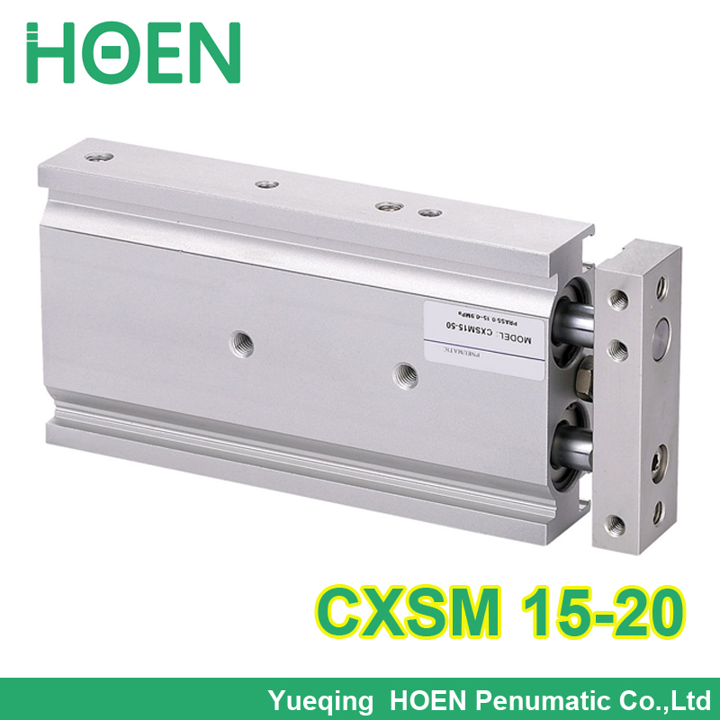CXSM15-20 High quality double acting dual rod air pneumatic cylinder CXSM 15-20 15mm bore 20mm stroke with slide bearing cxsm20 20 high quality double acting dual rod air pneumatic cylinder cxsm 20 20 20mm bore 20mm stroke with slide bearing