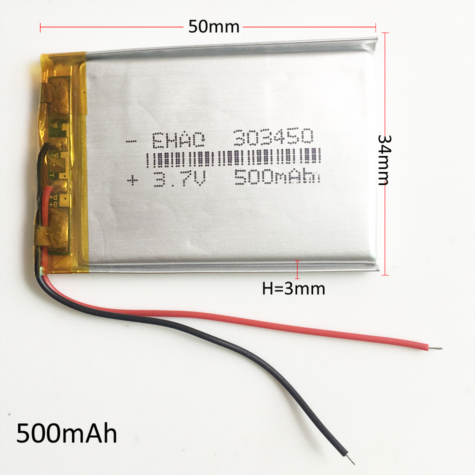 3.7V 500mAh 303450 Lithium Polymer Li-Po Rechargeable Battery power For Mp3 MP4 MP5 GPS PSP Vedio Game bluetooth headphone