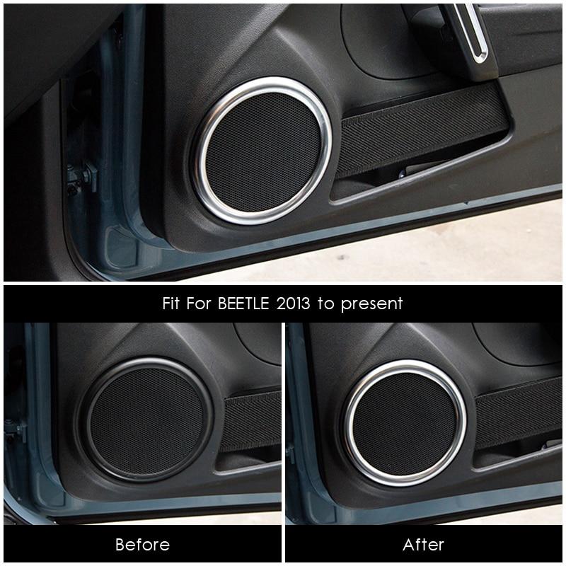 Подходит для Volkswagen Beetle 2013 до настоящего динамика отделка автомобиля Стайлинг внутреннее украшение круглые декоративные кольца молдинги
