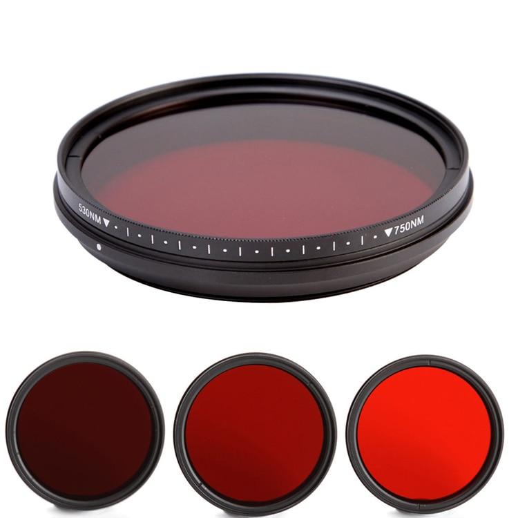 46 49 52 55 58 62 67 72 77 82mm IR 530/590/630/680/720/750 nm Réglable Infrarouge Infra-Rouge X-Ray lentille Filtre pour dslr caméra