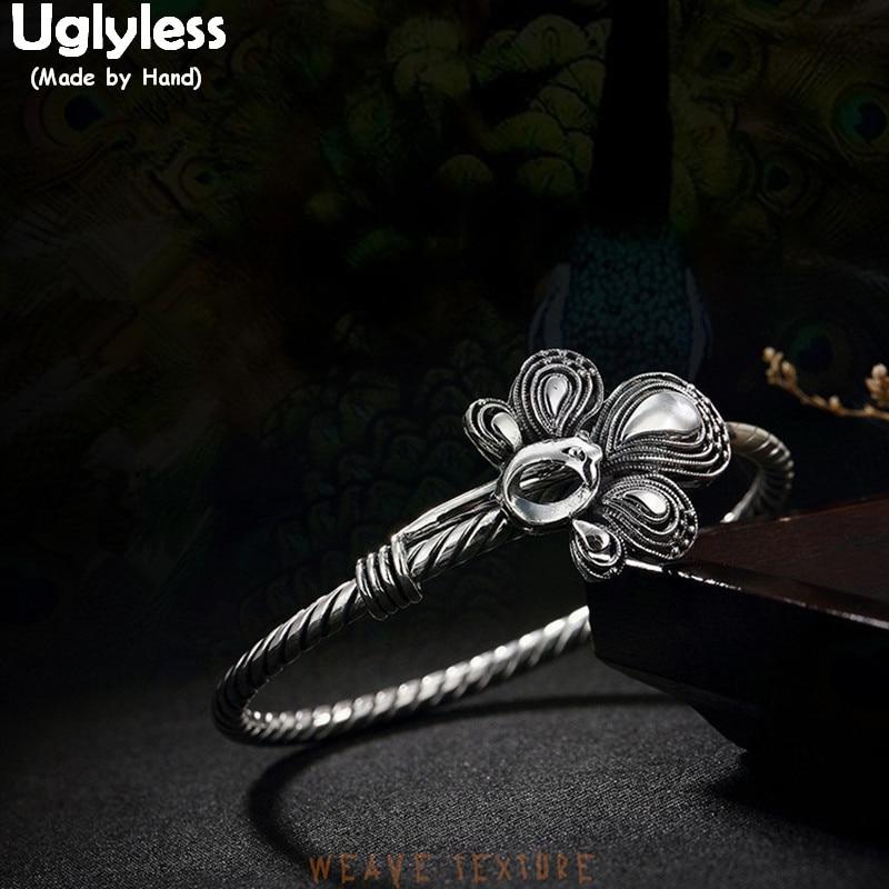 Uglyless Real S 999 Bijoux en argent fin Vintage ethnique Phoenix Totem bracelets femmes tissage torsadé bracelet fait main paon Bijoux