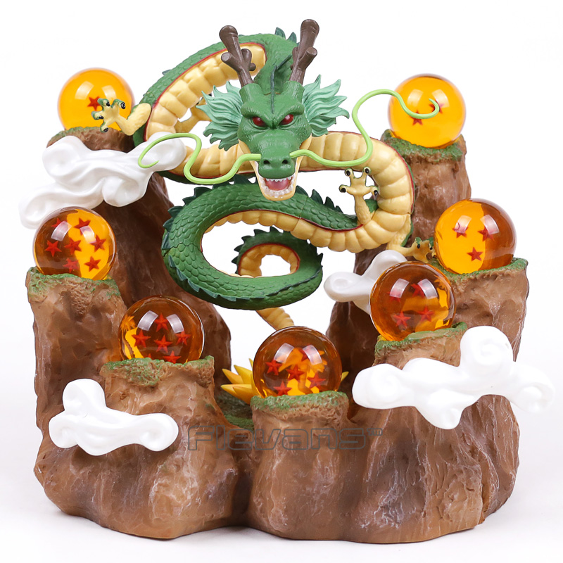 NEUE HEIßE!!! Dragon Ball Z Der Drache Shenron + Baumstumpf Stand + 7 Kristallkugeln PVC Figuren Sammeln Modell Spielzeug