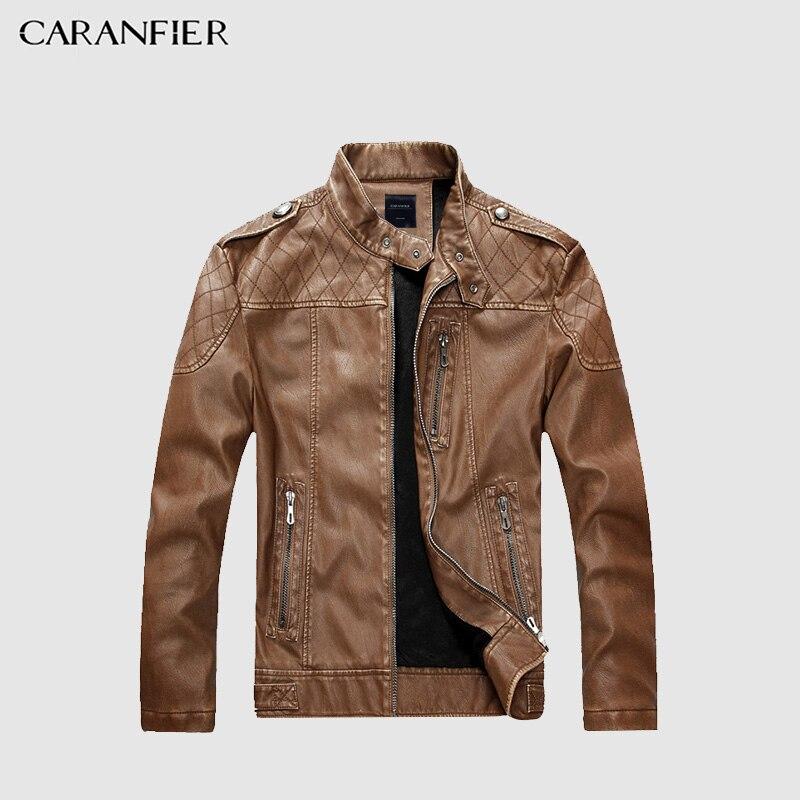 CARANFIER hombres chaqueta de cuero de imitación de alta calidad moda motocicleta estilo negocios masculino ocasional occidental vaquero chaqueta M ~ 2XL