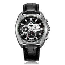 Fashion Luxury brand men' watches sports quartz black leather wirst watch luminous waterproof 100m CASIMA #8884