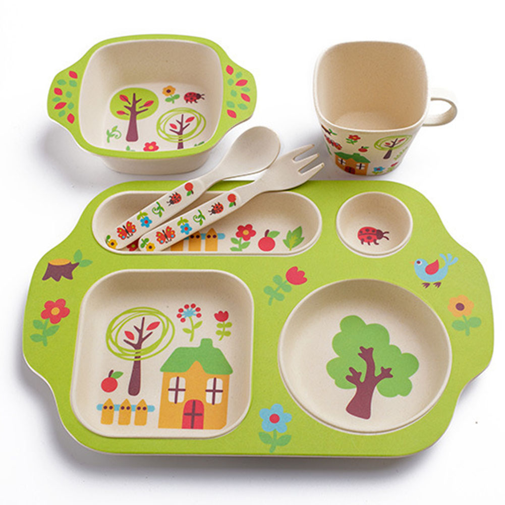 Cute Baby Kids Children Bowl Slip resistant Tableware Set Safe Baby Training Soup Spoon Dietary Sucker