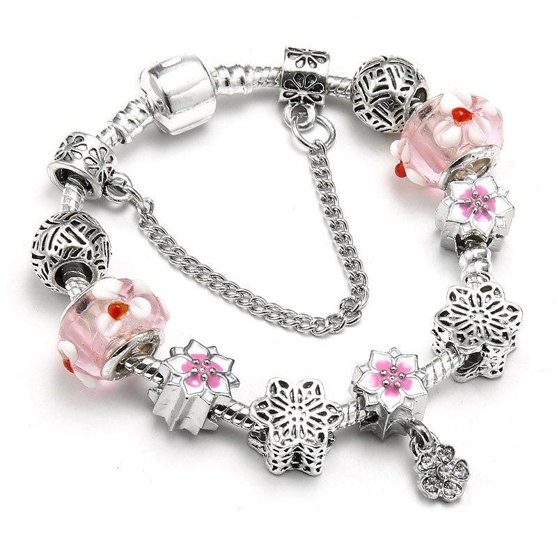 BAOPON Прямая поставка винтажные Подвески серебряного цвета браслеты для женщин DIY Кристальные бусины изящные браслеты для женщин Pulseira ювелирные изделия - Окраска металла: Type 9