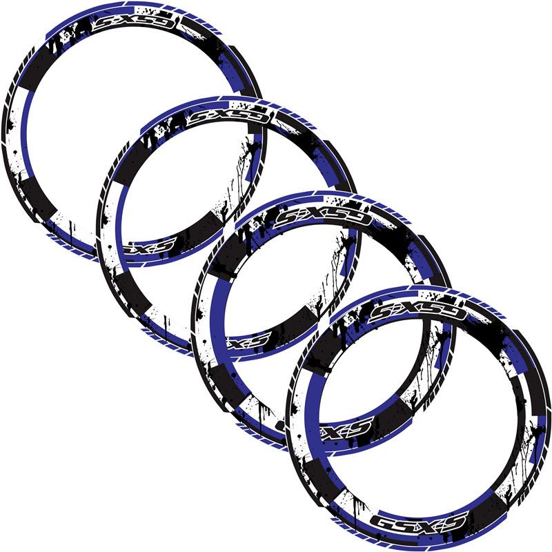 4 X  Motorcycle Full tire coverage Thick Edge Outer Rim Sticker Stripe Wheel Decals for SUZUKI GSX-S gsxs 750 1000 125