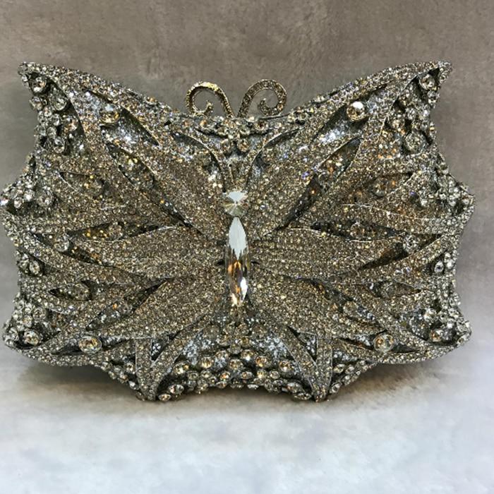 цена на XIYUAN BRAND butterfly Evening Clutch PURSE women full dress crystal day clutchES diamond Wedding Bag Mini Purse handbag totes