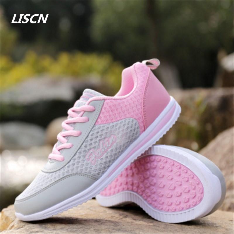 2018 neue Mode Frauen Atmungsaktives kissen Schuhe Zapatillas Tenis Feminino Freizeitschuhe Wilking Wohnungen Lace Up sneaker