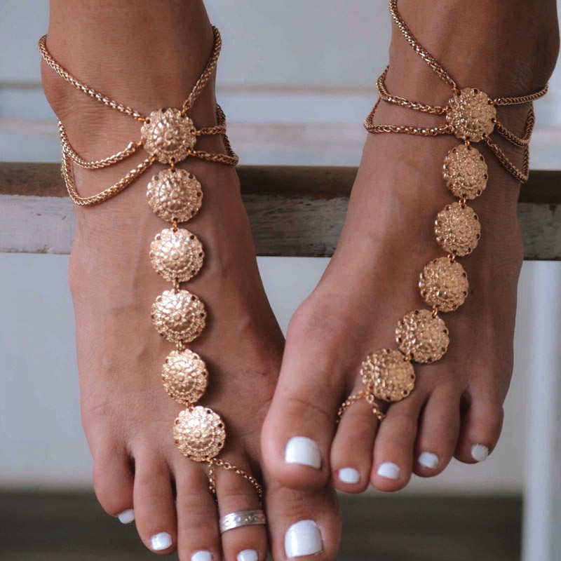 Summer hot New Fashion Foot jewelry metal gold color carving anklet nice gift for Women to beach A-39